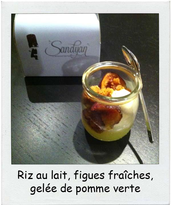 Sandyan Toulouse Riz au lait, figues fraîches, gelée de pomme verte par Yannick Delpech - Charonbelli's blog de cuisine